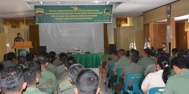 Sosialisasi Netralitas TNI Di Korem 022/PT