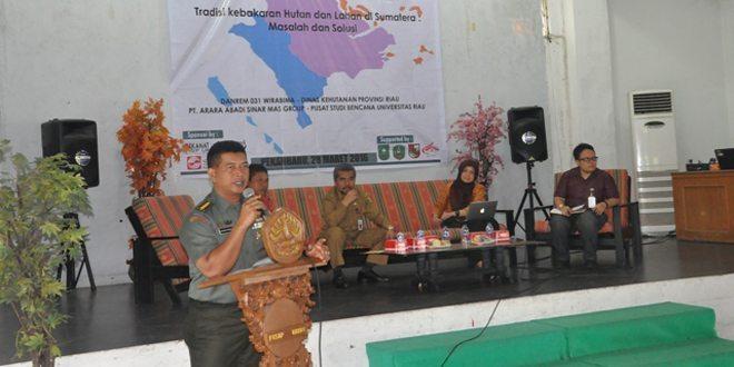 Kasrem 031/Wirabima Ajak Mahasiswa Berperan Dalam Menangani Karlahut