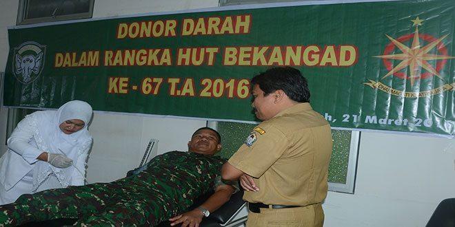 HUT ke-67 Bekang AD, Denbekang 00-44-01 Meulaboh Laksanakan Donor Darah