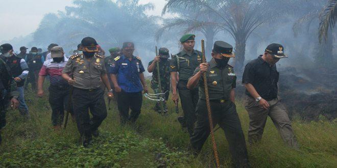 Danrem 032/Wbr Tinjau Lokasi Kebakaran Kebun Sawit