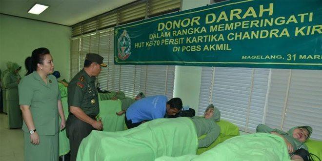 Persit Akmil Donor Darah Dalam Rangka HUT Ke-70 Persit KCK