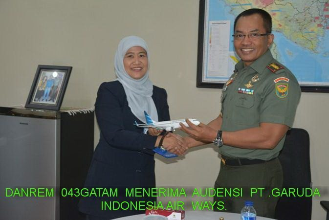 Danrem 043/Gatam Menerima Audensi PT .Garuda Indonesia Air Ways