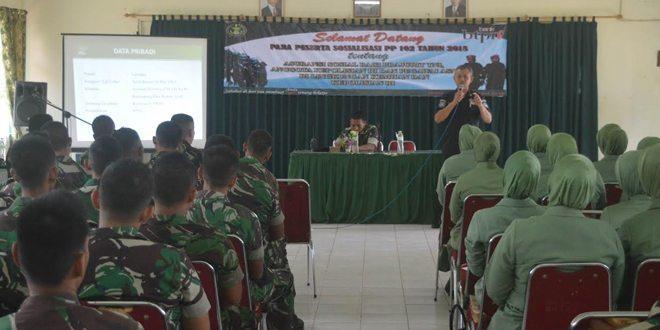 Prajurit Raider 111/Karma Bhakti Terima Sosialisasi Asuransi Jiwa dari Bank BTN dan PT Asabri