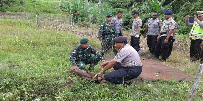 Satgas Pamtas RI-PNG Yonif Linud 431/SSP Kostrad Amankan Bom Perang Dunia ke II