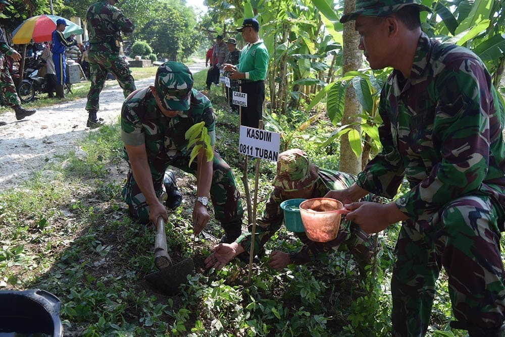 Lakukan Penghijauan Daerah Terpencil, Kodim 0811 Tuban Tanam 1500 Bibit Pohon