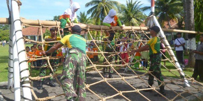 Yonif Raider 412 Kostrad Melatih Outbond Anak-Anak TK Traju Mas Purworejo