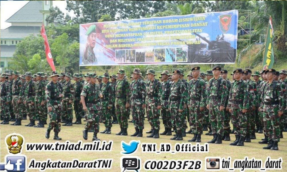 Pangdam Buka Apel Dansat Tersebar Kodam II Sriwijaya