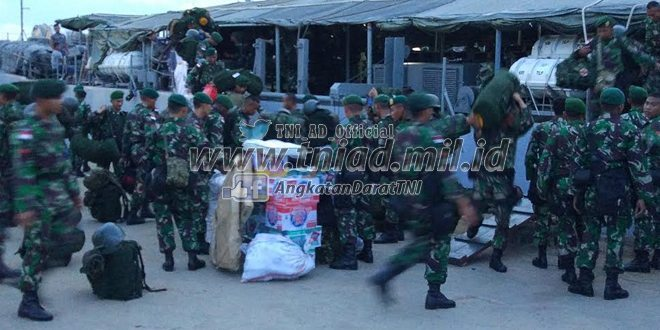 Satgas Pamtas RI-PNG Yonif Para Raider 330/TD Kostrad dan Yonif Mekanis 413/Bremoro Kostrad Tiba di Merauke