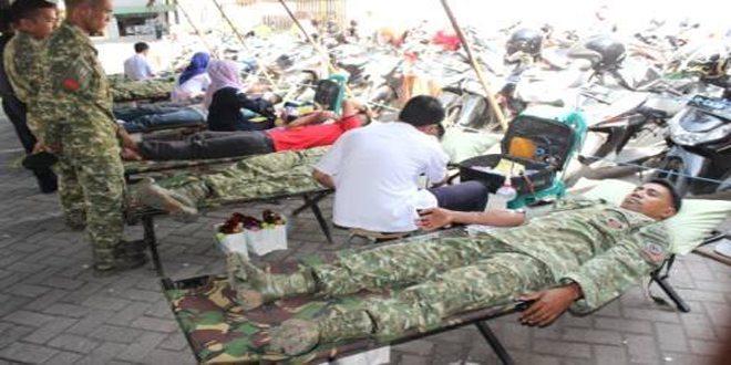 Donor Darah Yonif Para Raider 503/ MK Kostrad Dalam Rangka HUT ke-55 Divif -2 Kostrad