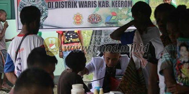 Satgas Pamtas Yonif PR 431/ SSP Bersama Pertamina Gelar Pengobatan Gratis Di Kalipay