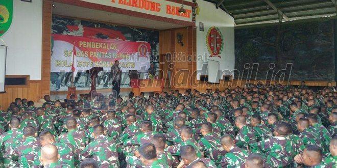 Bupati Merauke Berikan Pengarahan Kepada Personel Satgas Pamtas RI-PNG Kosektor Selatan Yonif Para Raider 330 Kostrad dan Yonif Mekanis 413 Kostrad