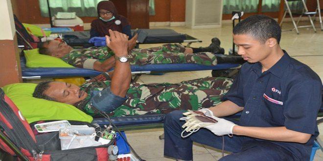Ratusan Anggota Korem 051/Wkt Lakukan Donor Darah
