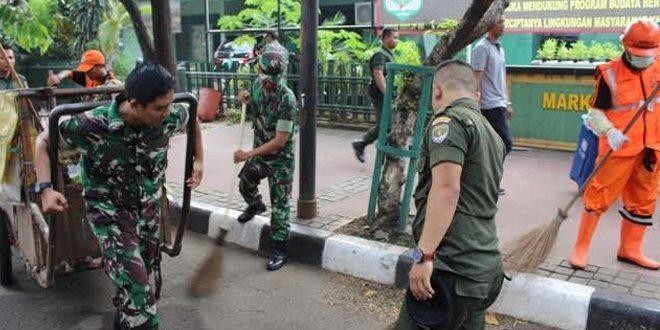 Kodim 0501/Jakarta Pusat Laksanakan Gerakan Nasional Indonesia Bersih