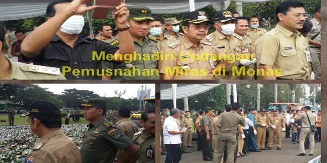Kasdim 0501/Jakarta Pusat BS Menghadiri Acara Pemusnahan Minuman Keras di Silang Barat Daya Monas