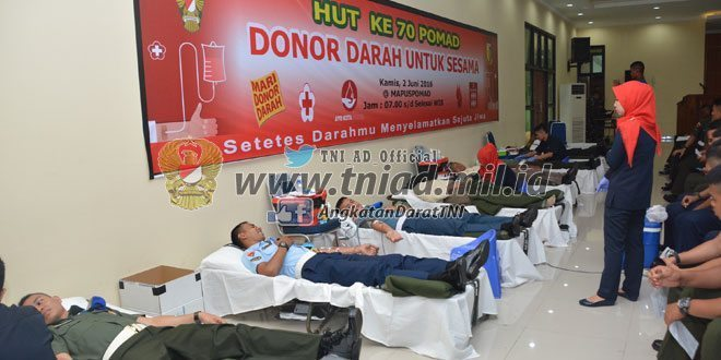 Sambut HUT Ke 70, POMAD Gelar Donor Darah untuk Sesama
