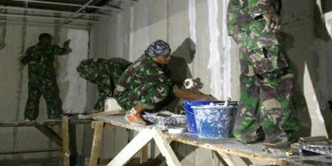 Satgas Yon Zipur 9 Kostrad Melanjutkan Rehabilitasi Bangunan QVS di Fiji