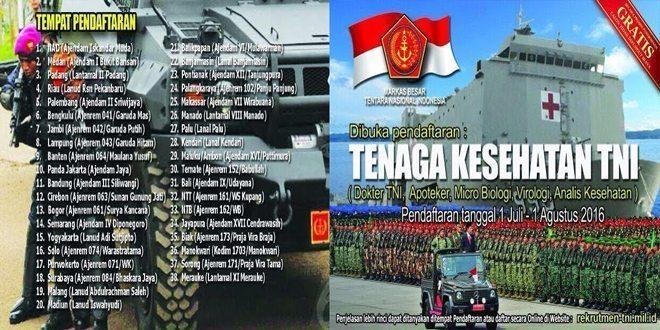 Dibuka Pendaftaran : Tenaga Kesehatan TNI