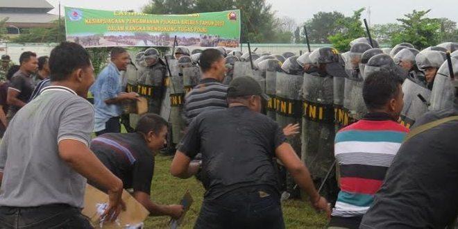 Jelang Pilkada Kabupaten Brebes Kodim 0713 Brebes Latihan Penanggulangan Huru Hara