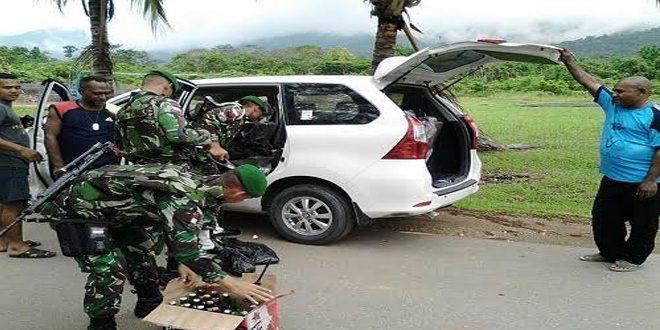 Satgas Pamtas RI-PNG Sweeping Berhasil Mengamakan Miras Tanpa Dokumen