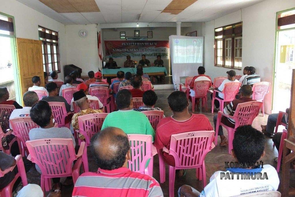 Korem Binaiya Sosialisasi Hukum, Bahaya Narkoba, Miras dan Sex Bebas di Desa Larike
