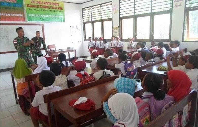 TNI AD Peduli Pendidikan Generasi Muda Di Perbatasan RI-PNG