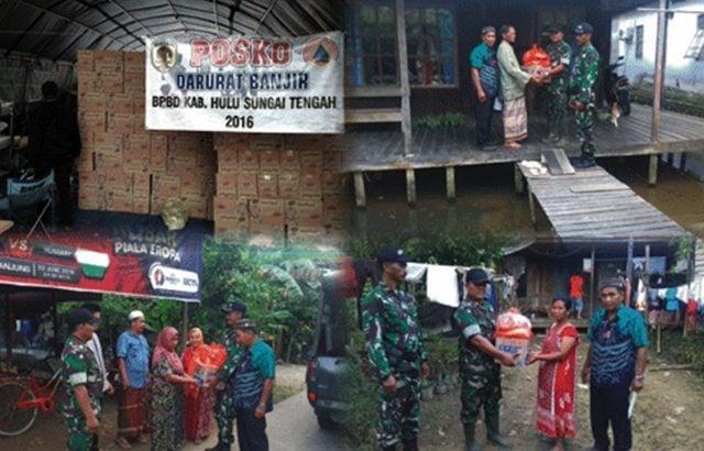 TNI Bersama BPBD Distribusikan Bantuan Sembako Kepada Warga Korban Banjir