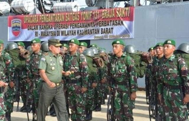 Yonif 131/BS Jaga Perbatasan RI-Malaysia