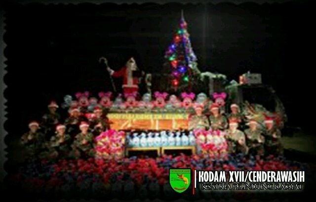 Perayaan Natal di Perbatasan, Truk Yonif Para 330/Kostrad Disulap Menjadi Kereta Sinterklas