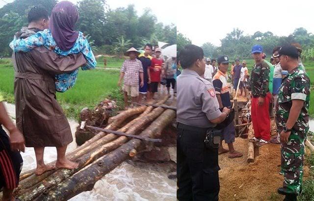 Jembatan Jetis Ambruk Diterjang Banjir, Babinsa dan Warga Bangun Jembatan Darurat