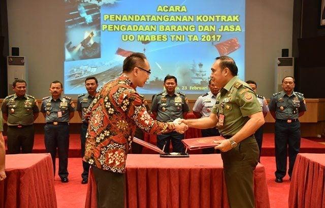 Mabes TNI Acarakan Penandatanganan Kontrak Pengadaan Barang dan Jasa Tahun 2017