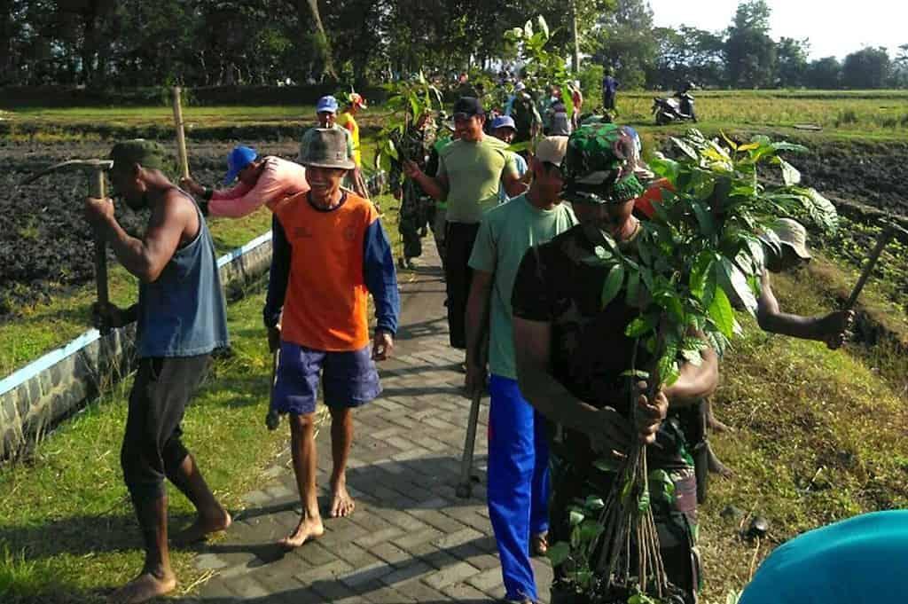 Antisipasi Bencana Banjir Koramil Bagor Hijaukan Jalan Desa