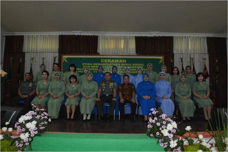336 Istri Prajurit Terima Ceramah Tentang Etika Medsos dan Narkoba