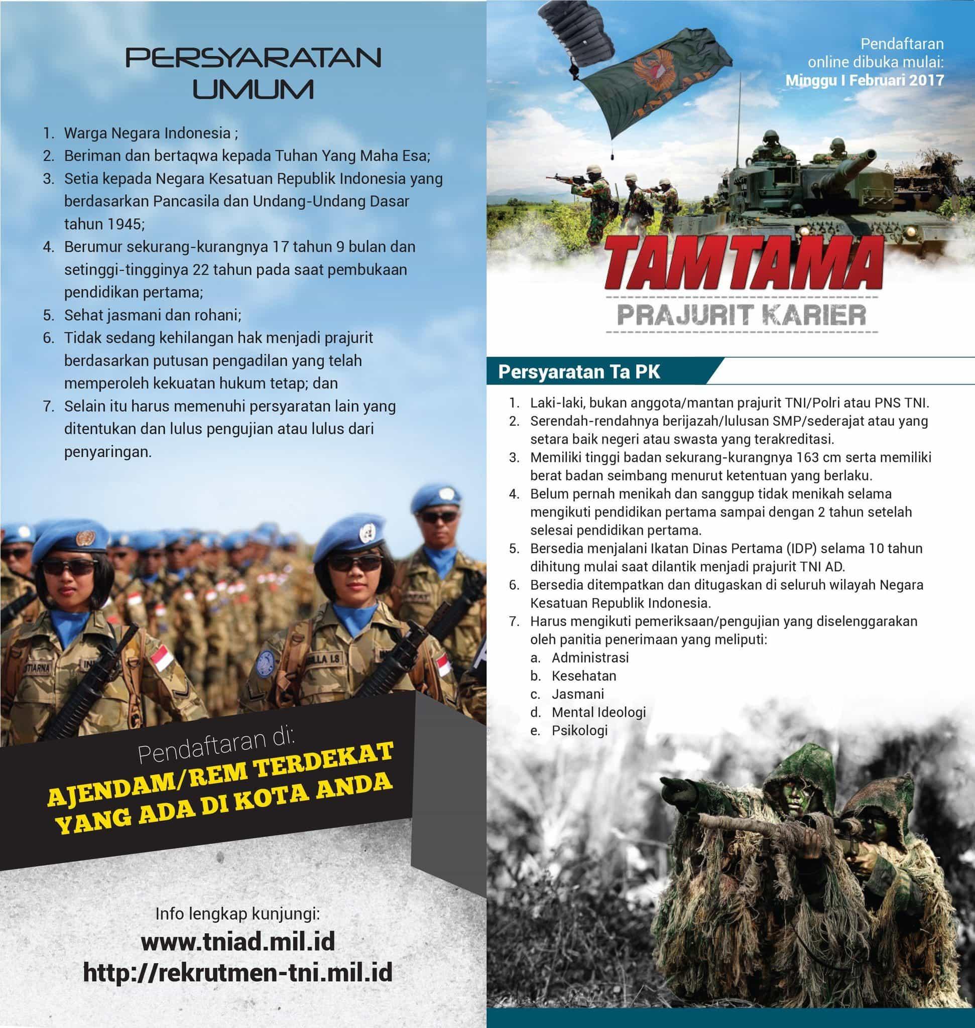 Ayo, Masih Ada Waktu Untuk Menjadi Calon Prajurit TNI AD