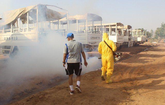 Cegah Meluasnya Malaria, Pasukan Garuda Fogging Wilayah Darfur Barat
