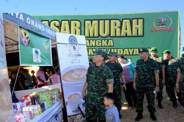 Memperkokoh Kemanunggalan TNI - Rakyat, Digelar Pasar Murah dan Hiburan Rakyat