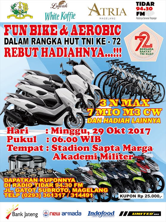Perlombaan Fun Bike, Aerobic Sampai Trail akan Digelar Akmil Sambut HUT ke-72 TNI