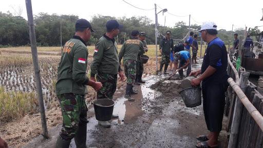 TNI Peduli Kesulitan Rakyat, Koramil Polanharjo Gelar Karya Bakti Cor Jalan