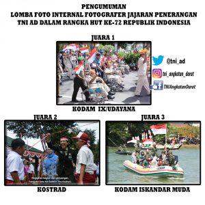 PENGUMUMAN LOMBA FOTO TINGKAT TNI AD DALAM RANGKA HUT KE-72 TNI TAHUN 2017