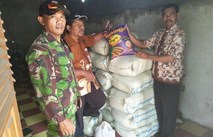Babinsa Koramil Dlanggu Lakukan Pendampingan Penyaluran Benih Padi