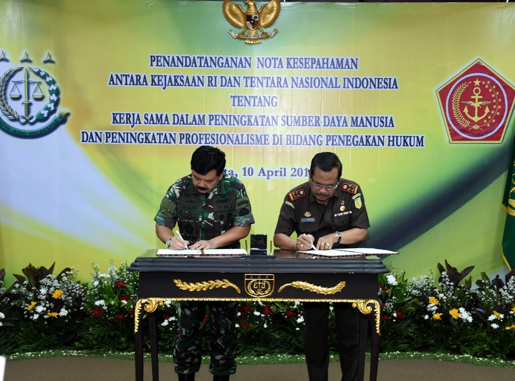 TNI-Kejagung RI Kerja Sama Peningkatan SDM dan Kinerja