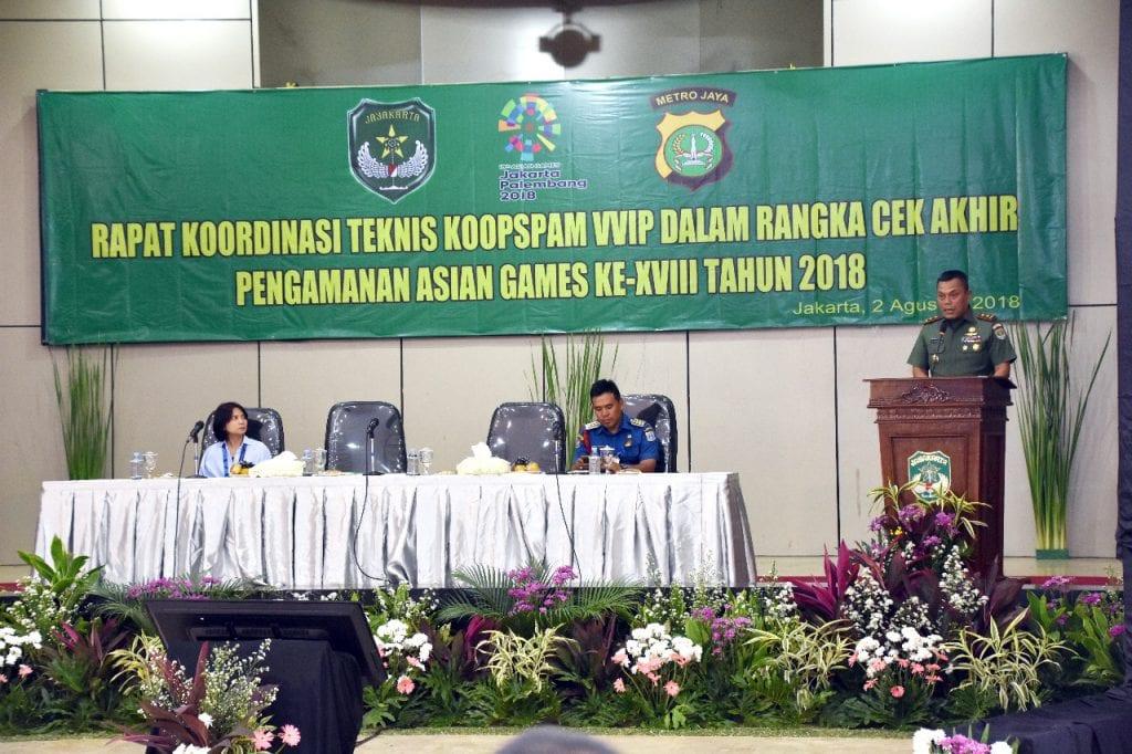 Pangdam Jaya Pimpin Rakornis Pengamanan VVIP Asian Games 2018
