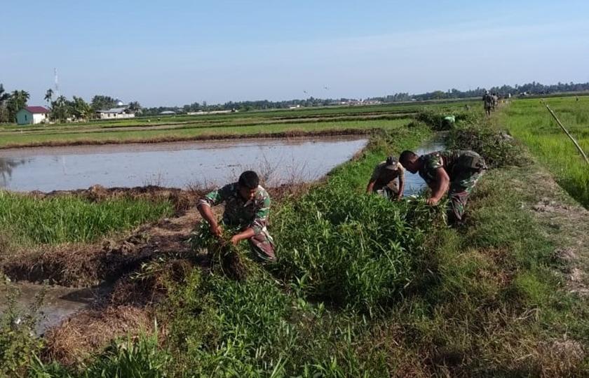 Tingkatkan Swasembada Pangan Petani, Babinsa Bersihkan Saluran Irigasi