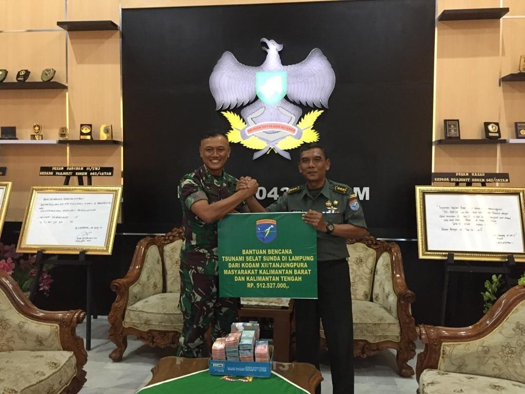 Kodam XII/Tpr Salurkan Dana Bantuan Bagi Korban Tsunami Selat Sunda.