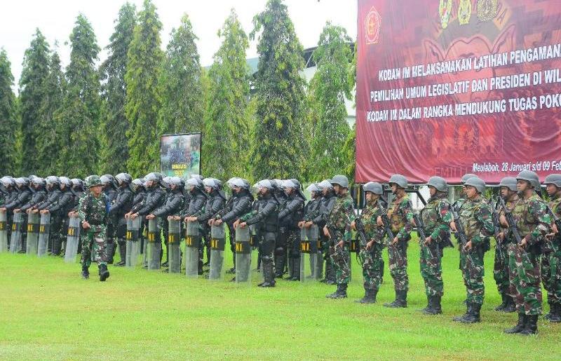 Jelang Pemilu 2019, Korem 012/TU Gelar Latihan Pengamanan