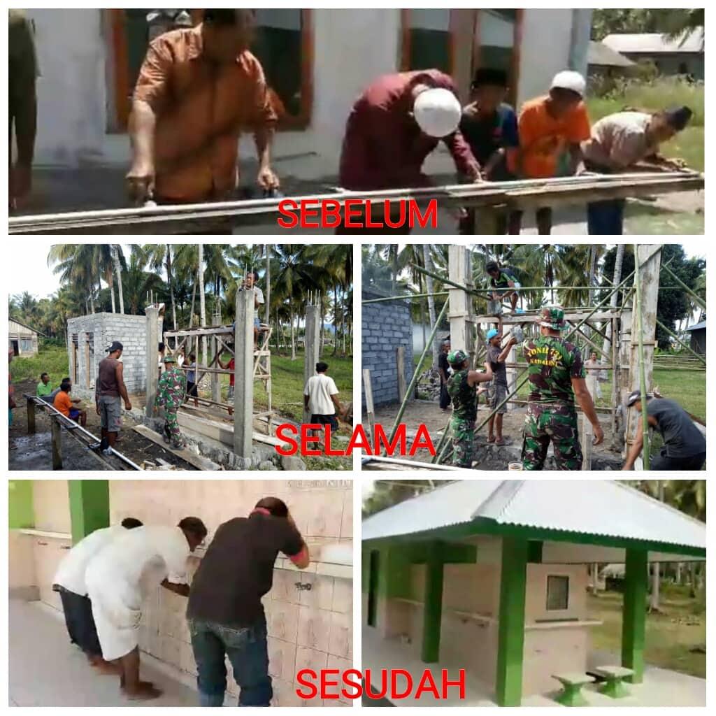 Bersama Warga, Satgas Yonif 731 Bangun Tempat Wudhu Masjid