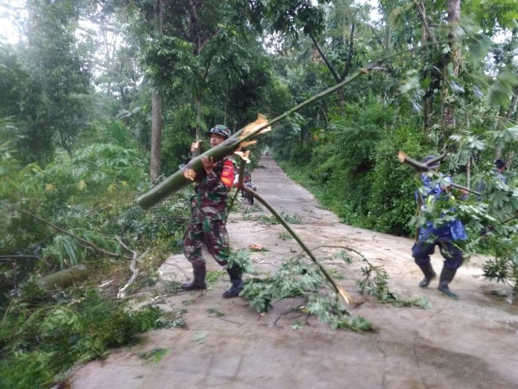 Babinsa dan Warga Evakuasi Pohon Tumbang di Jatinom