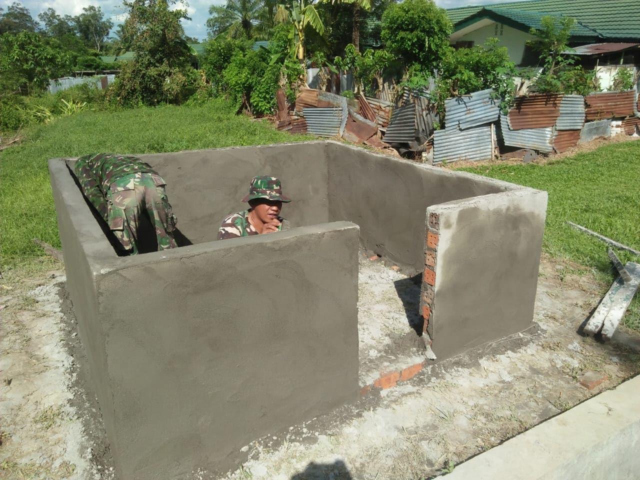 Wujudkan Pangkalan Bersih, Yonif 141 Bangun Pembuangan Sampah
