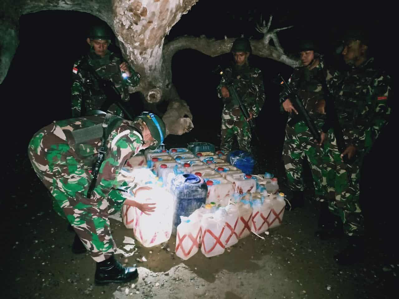 Diselundupkan Ke Timor Leste, Ribuan Liter Bbm Illegal Diamankan Satgas Yonif 408