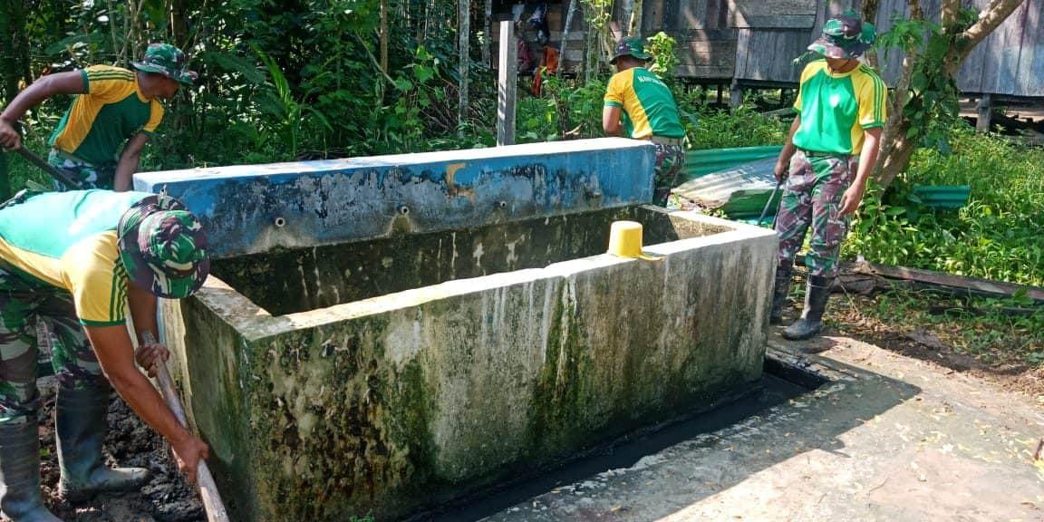 9 Tahun Terbengkalai, Yonif 328 Renovasi Mck Wujudkan Kampung Sehat.