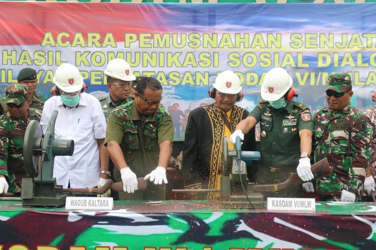 160 Senjata Hasil Operasi Satgas di Wilayah Kaltara Dimusnahkan